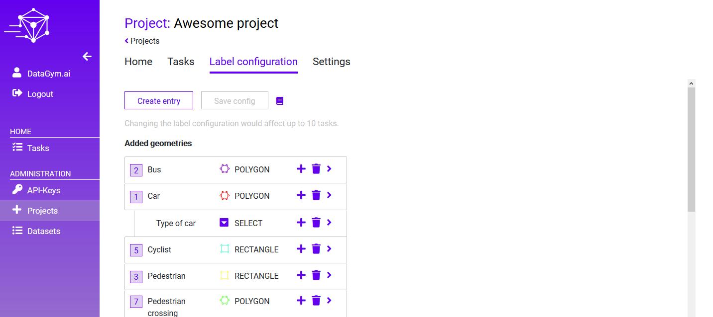 DataGym - Label configuration